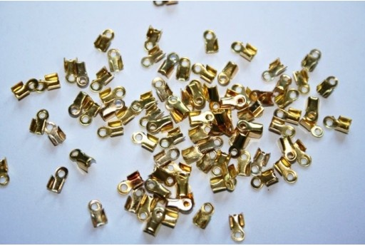Gold Plated Cord Ends 6x3mm - 100pcs