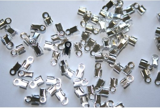 Silver Plated Cord Ends 6x3mm - 100pcs