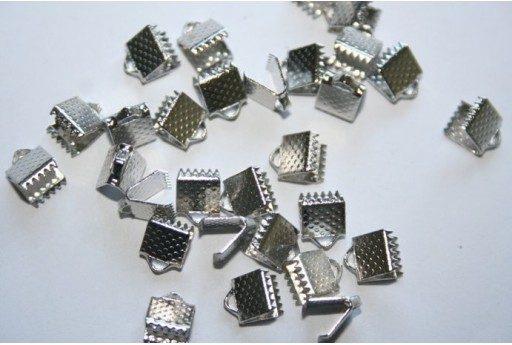 Platinum Plated Cord Ends 8x6x5mm - 30pcs