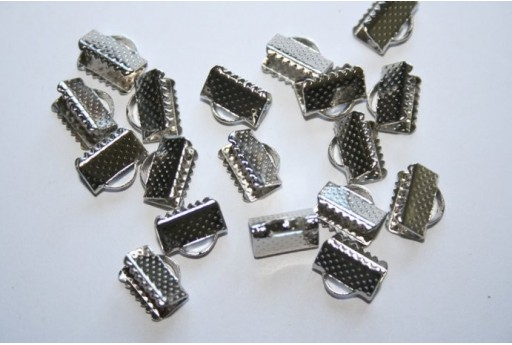 Platinum Plated Cord Ends 10X7x5mm - 24pcs