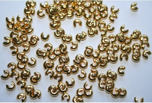 Gold Plated Crimp Covers 3mm - 72pcs