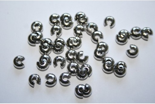 Platinum Plated Crimp Covers 5mm - 24pcs