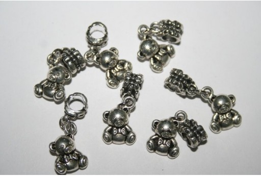 Large Hole Beads Teddy Bear 12x10mm - 2pz