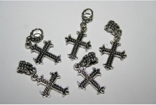 Large Hole Beads Cross 24x18mm - 2pz