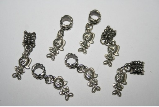 Large Hole Beads Little Girl 15x8mm - 2pz