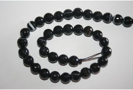 Brazil Sardonyx Faceted Round Beads 10mm - 3pcs