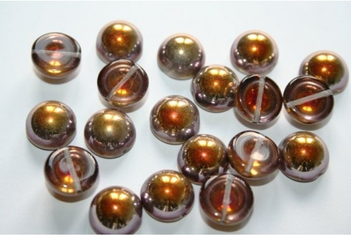 10 Perline Dome Beads 12x7mm Jet Col.23980
