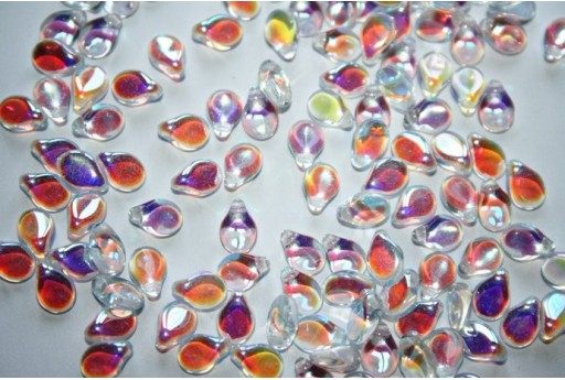 Perline Pip Beads 5x7mm, 30Pz., Crystal AB Col.28701