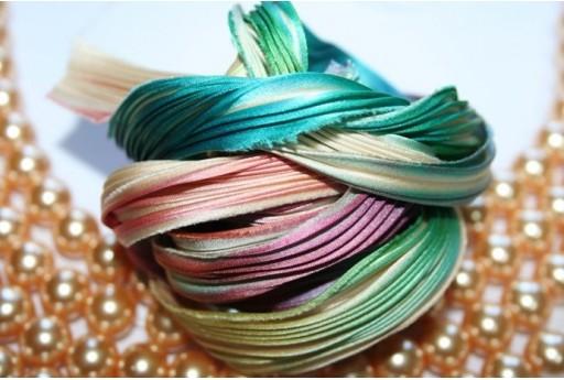 Seta Shibori Ribbon Ecru Borealis - 10cm