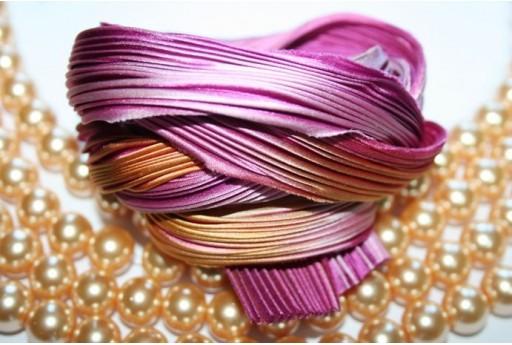 Seta Shibori Ribbon Tropical Pink - 10cm