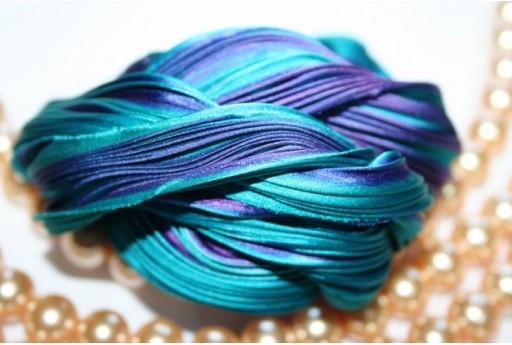 Silk Shibori Ribbon Passion Teal - 10cm