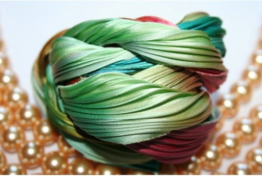 Seta Shibori Ribbon Seafoam Borealis - 10cm
