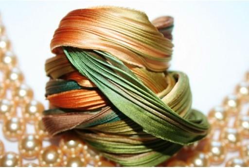 10cm. Silk Shibori Ribbon Seafoam Borealis