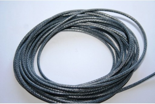 Dark Grey Waxed Polyester Cord 1,5mm - 12m MIN132AA