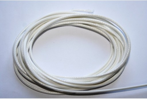 White Waxed Polyester Cord 1,5mm - 12m MIN132AL