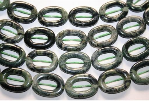Filo 30 Pietre Jasper Impression Verde Tubo 13x6mm JA60