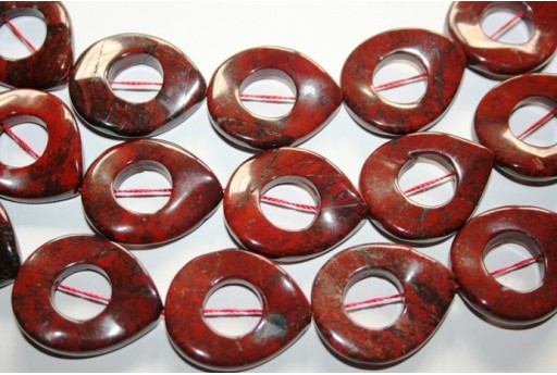 Jasper Beads Drop Twist Donut 30x25mm - 1pz