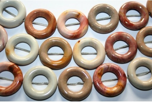 Agate Beads Circle Donut 25mm - 16pz