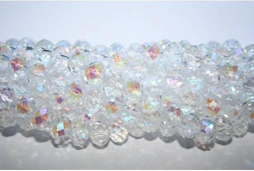 Filo 70 Perline Vetro Rondella Sfaccettata Crystal AB 7x10mm VE70A