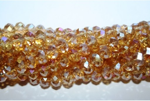 Chinese Crystal Beads Faceted Rondelle Gold AB 7x10mm - 70pz