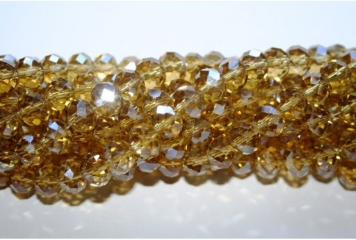 Chinese Crystal Beads Faceted Rondelle Bronze 7x10mm - 70pz