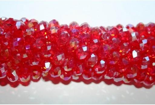 Filo 70 Perline Vetro Rondella Sfaccettata Rossa AB 7x10mm VE70E