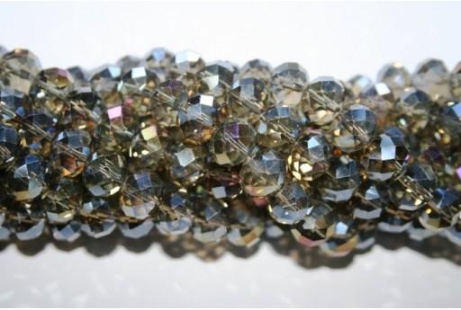 Perline Vetro Rondella Sfaccettata Marrone AB 7x10mm - 70pz