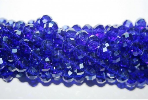 Chinese Crystal Beads Faceted Rondelle Blue 7x10mm - 70pz