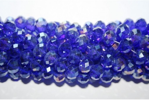 Filo 70 Perline Vetro Rondella Sfaccettata Blue 7x10mm VE70G