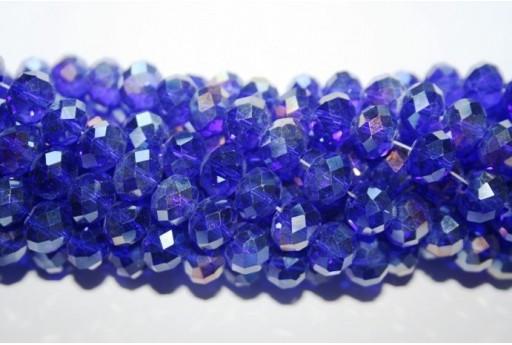 Filo 70 Perline Vetro Rondella Sfaccettata Blue AB 7x10mm VE70H