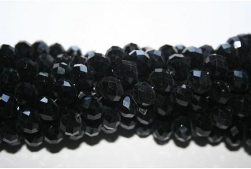 Filo 70 Perline Vetro Rondella Sfaccettata Nera 7x10mm VE70L