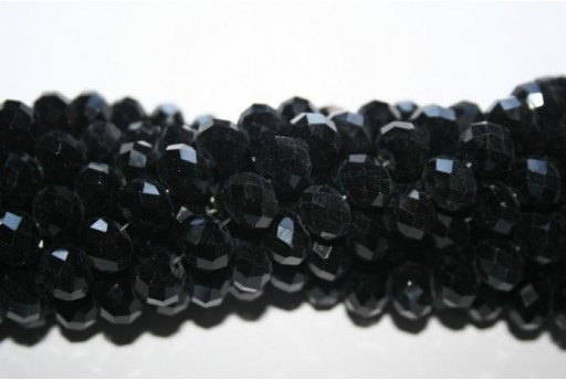 Chinese Crystal Beads Faceted Rondelle Black 7x10mm - 70pz