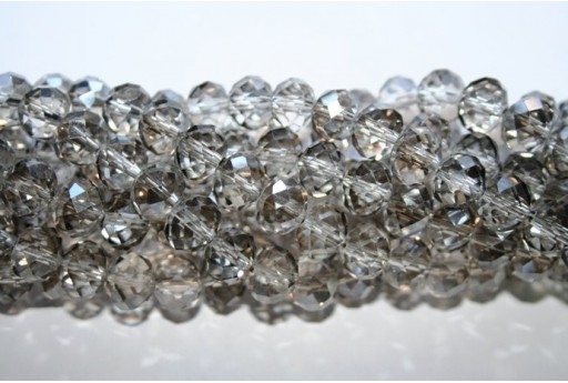 Chinese Crystal Beads Faceted Rondelle Grey 7x10mm - 70pz