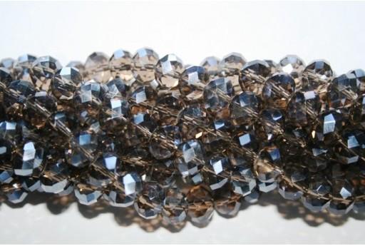 Filo 70 Perline Vetro Rondella Sfaccettata Grigio Scuro 7x10mm VE70P