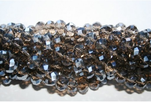 Chinese Crystal Beads Faceted Rondelle Dark Grey 7x10mm - 70pz