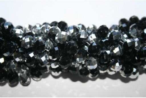 Chinese Crystal Beads Faceted Rondelle Black/Silver 7x10mm - 70pz