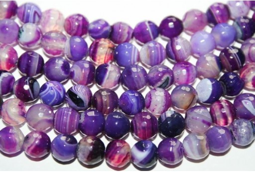 Agate Beads Veined Purple Faceted Sphere 8mm - 4pz