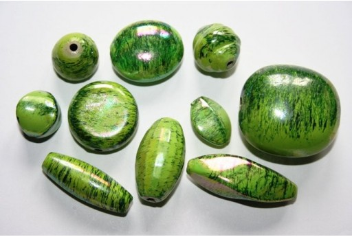 Acrylic Beads Green 14 Mixed Shapes 40-10mm AC58A