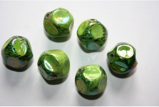 Acrylic Beads Green 10 Irregular Spheres 16mm AC58F