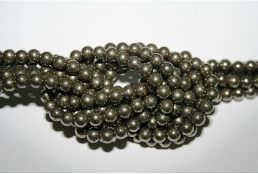 Pyrite Round Bead Strand 64pcs 6mm PYR4