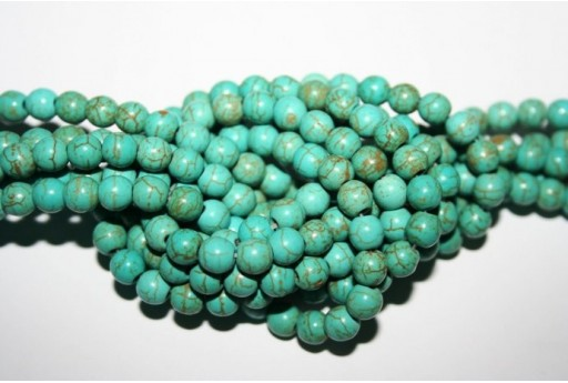 Magnesite Beads Aqua Green Sphere 6mm - 64pz