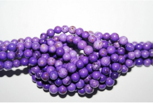Magnesite Beads Violet Sphere 6mm - 64pz