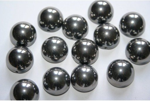 Perline Dome Beads 14X8mm, 10pz., Jet Full Chrome Col.27400