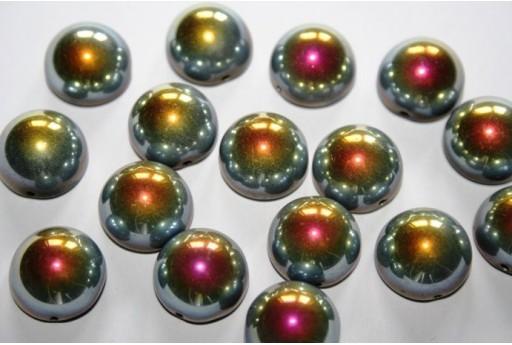 Perline Dome Beads 14X8mm, 10pz., Jet Marea Col. 28001