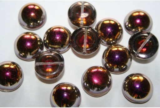 Perline Dome Beads 14X8mm, 10pz., Crystal Santander Col.27103