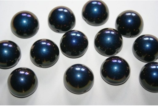 Perline Dome Beads 14X8mm, 10pz., Jet Azuro Col.22201