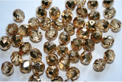 Fire Polished Beads Coated Gold 8mm - 25pz