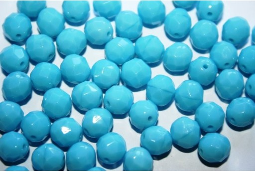 Fire Polished Beads Blue Turquoise 8mm - 25pz