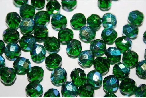 Fire Polished Beads Emerald AB 8mm - 25pz