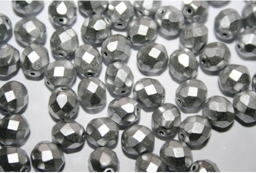 Fire Polished Beads Matte Metallic Aluminum 8mm - 25pz